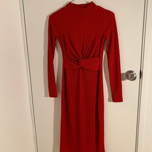 Red Pull and Bear Midi Dress